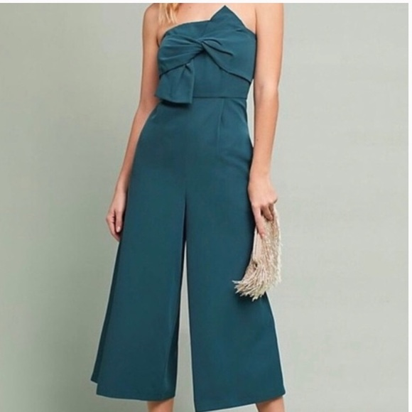 Anthropologie Pants - 💚 Anthropologie Jade Green Strapless Jumpsuit